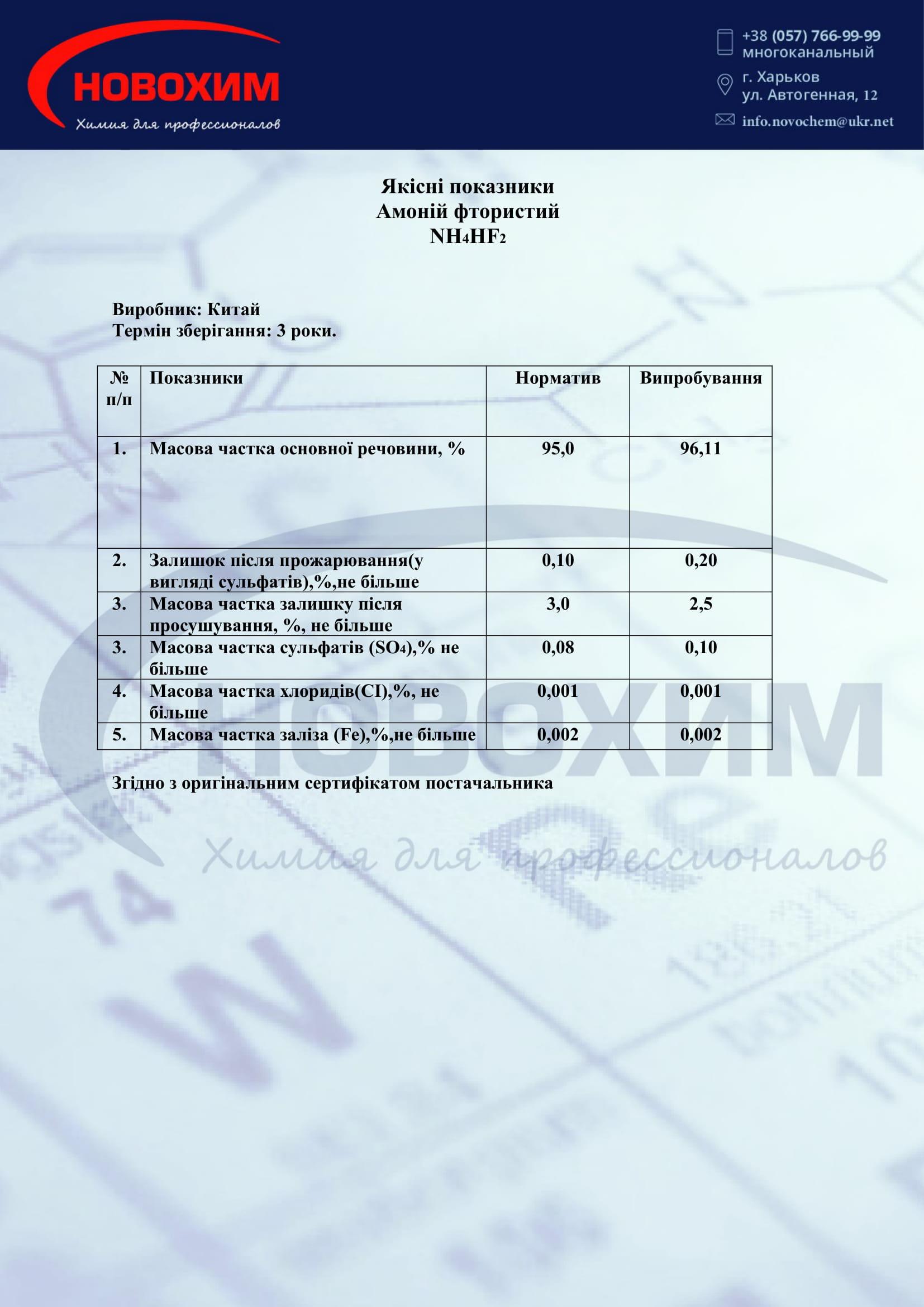 Фото аммоний фтористый сертификат