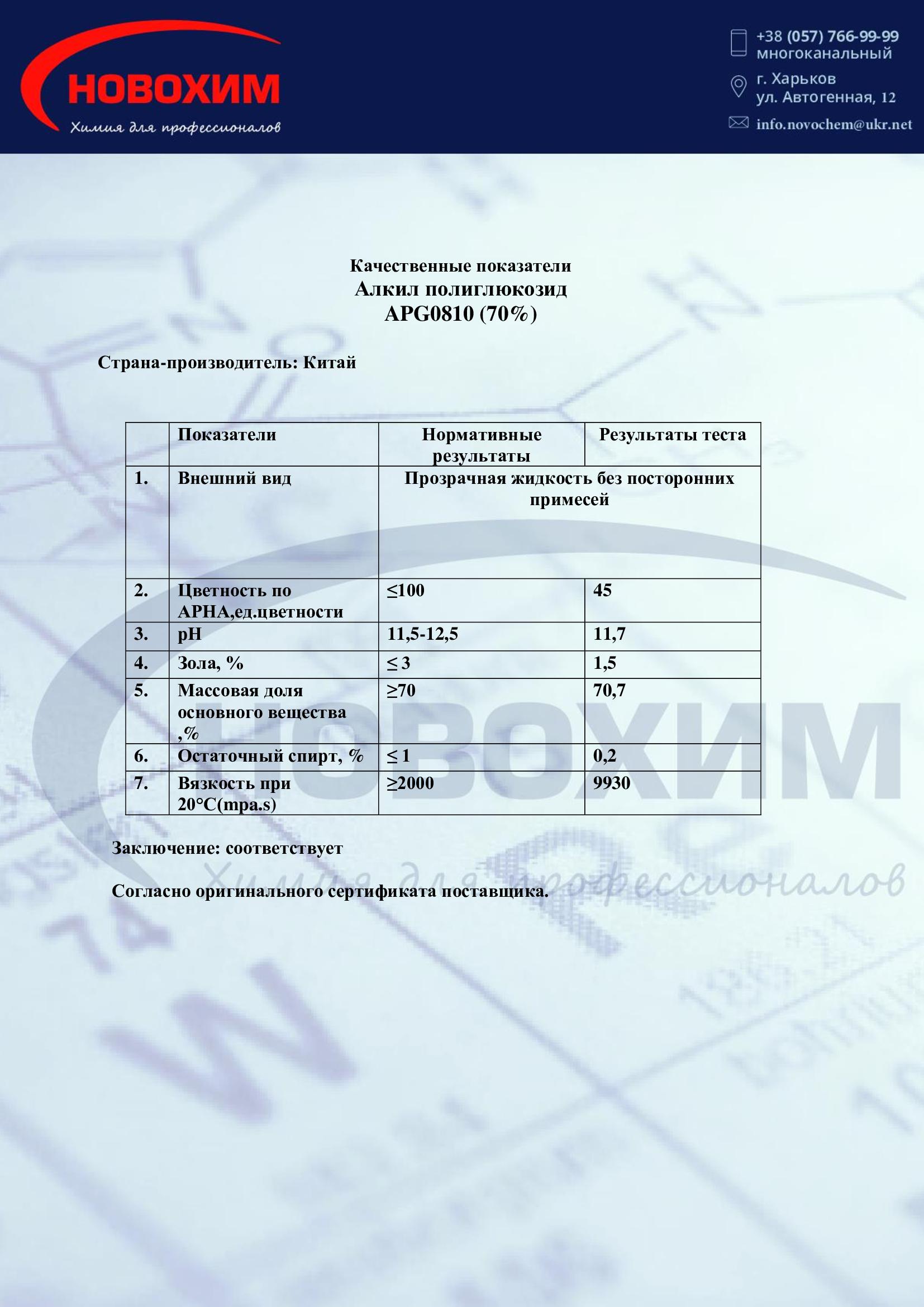 Фото сертификата APG0810