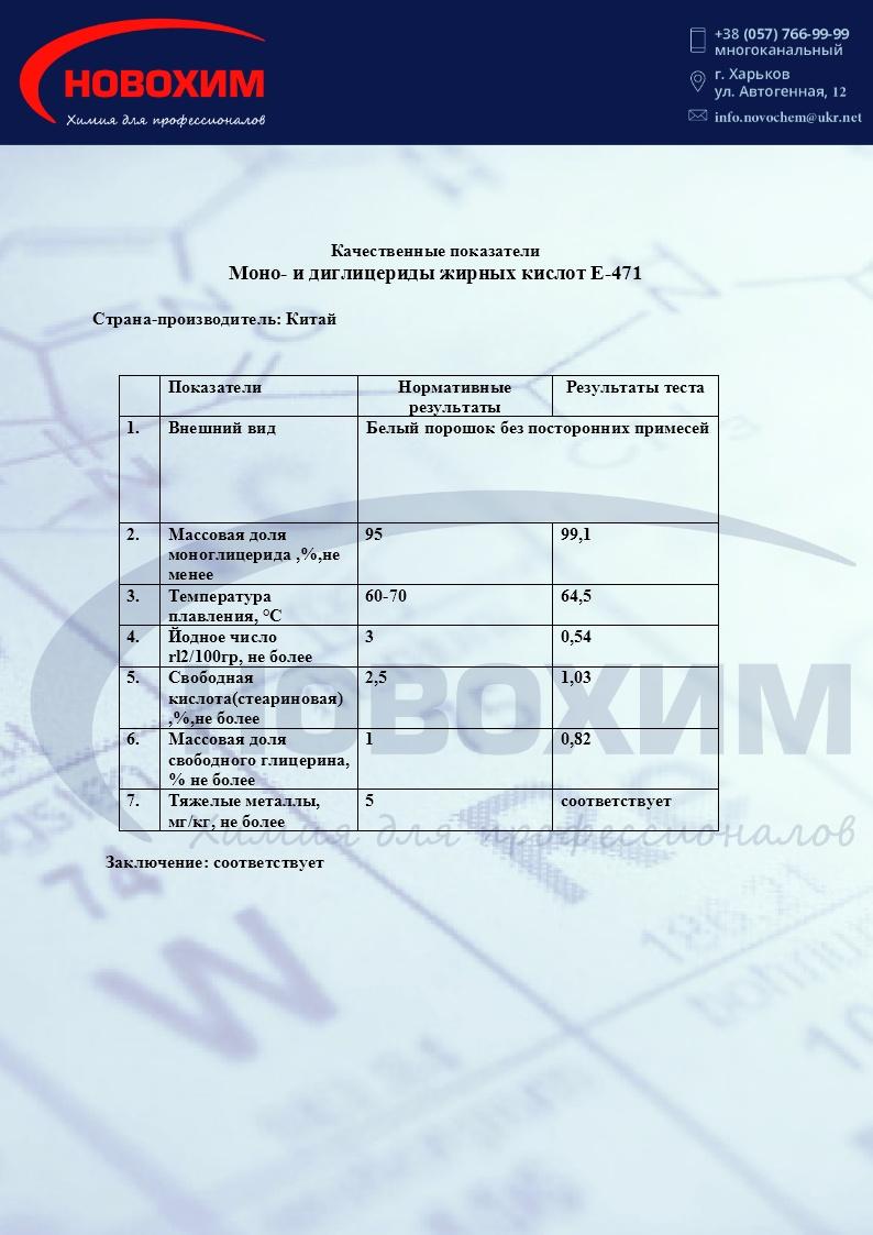 Фото сертификата моноглицерид дистиллированный